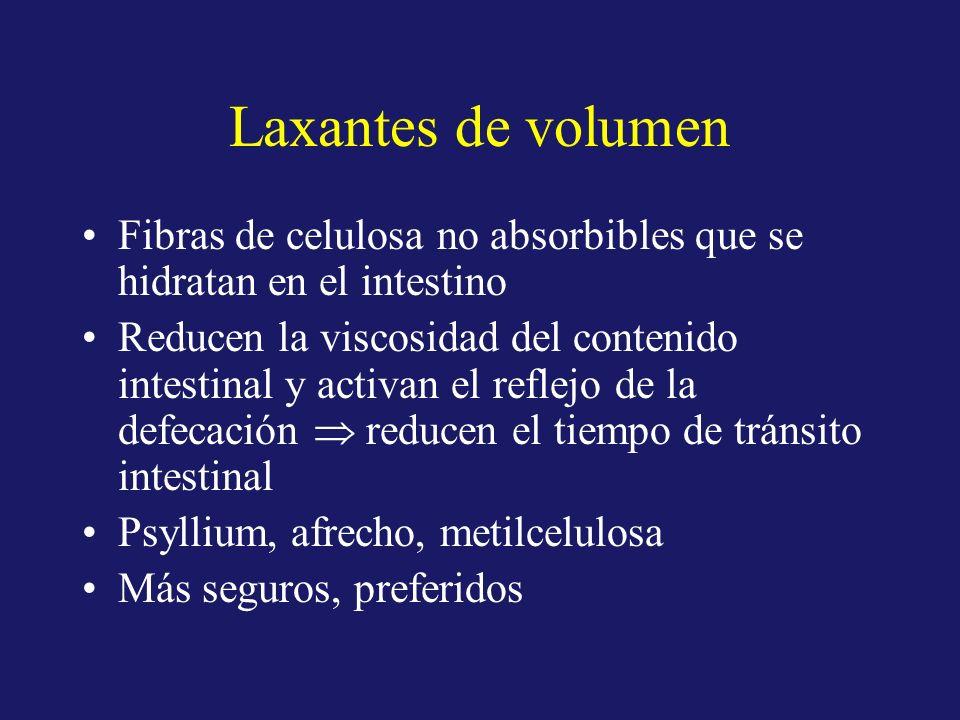 Laxantes de volumenFibras de celulosa no absorbibles que se hidratan en el intestino.