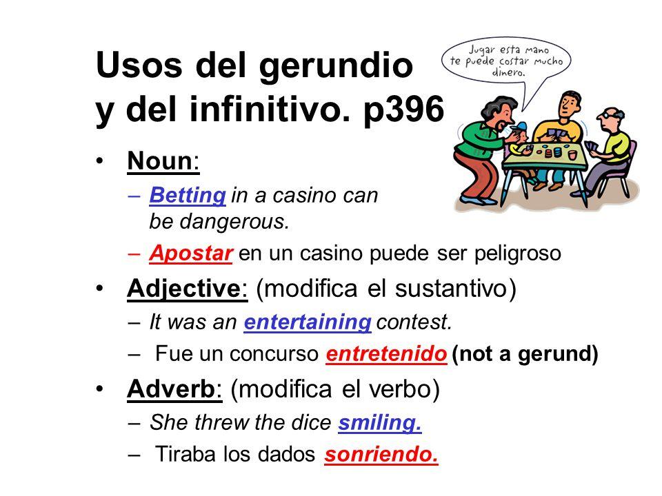 Usos del gerundio y del infinitivo. p396