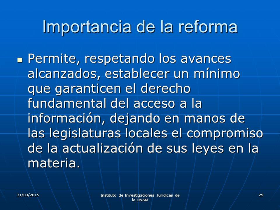 Importancia de la reforma