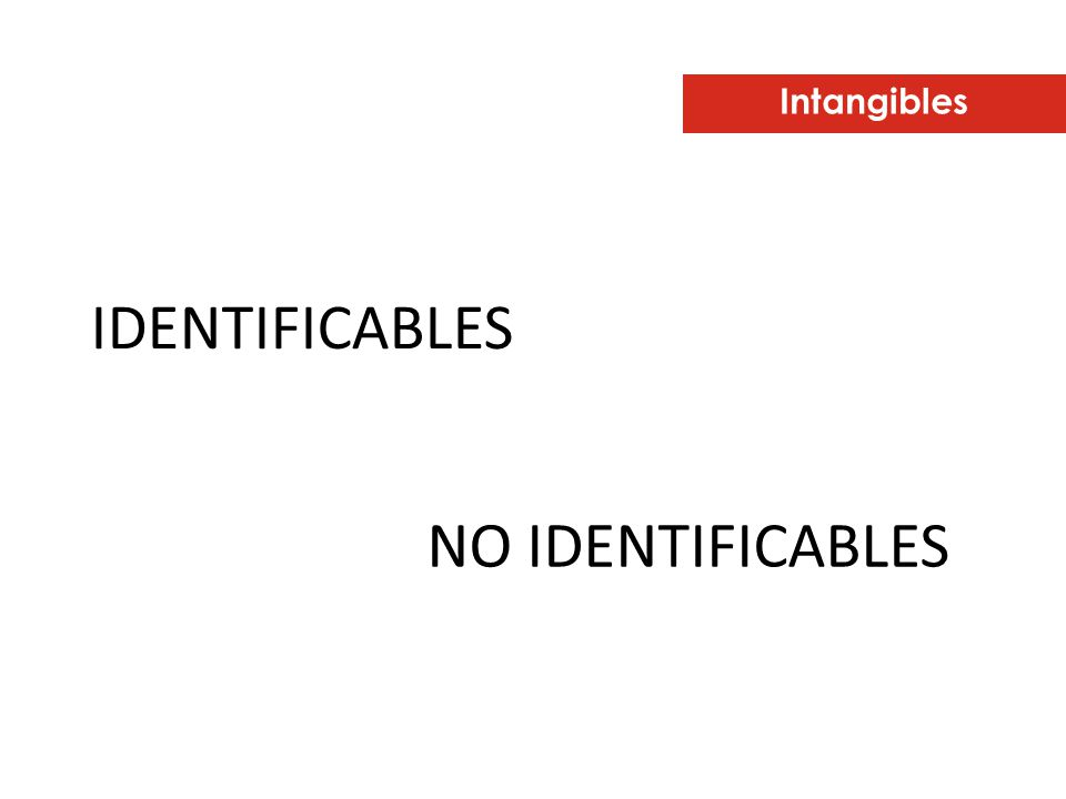 Intangibles IDENTIFICABLES NO IDENTIFICABLES