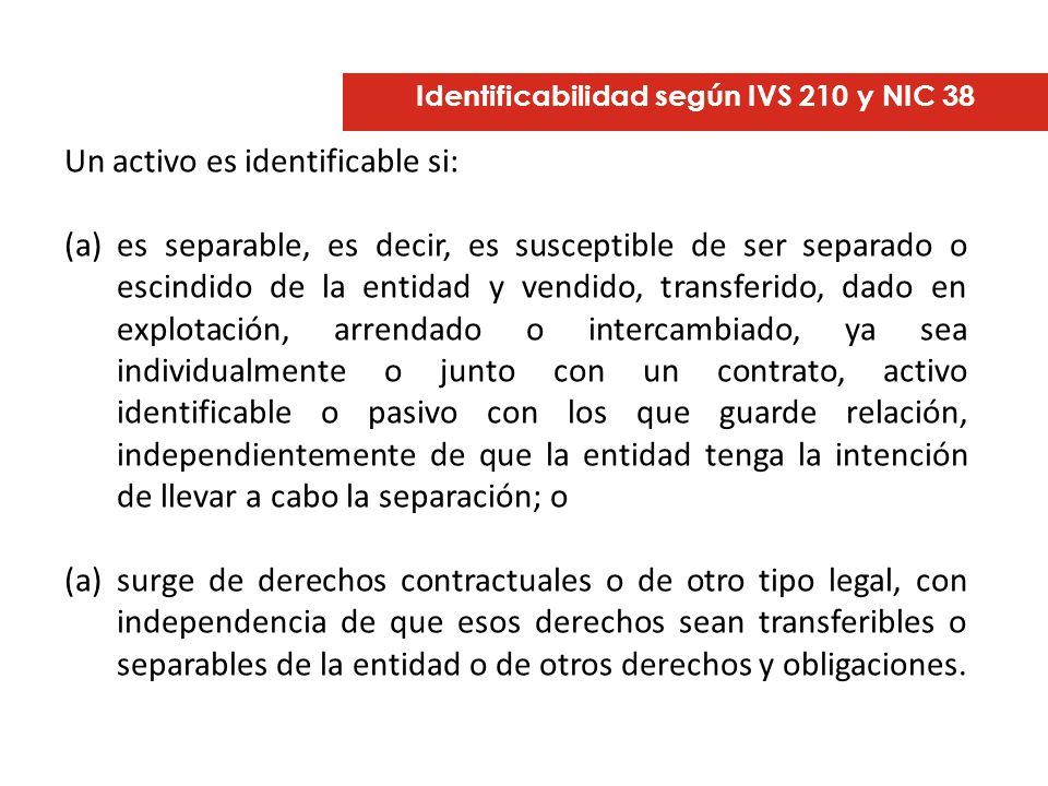 Identificabilidad según IVS 210 y NIC 38