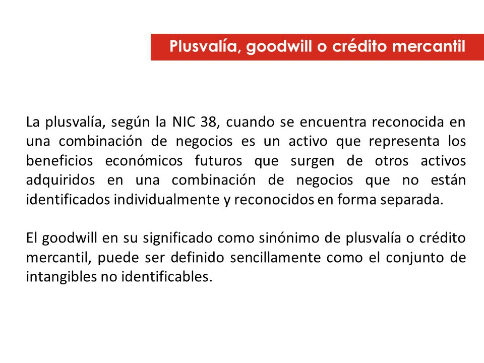 Plusvalía, goodwill o crédito mercantil