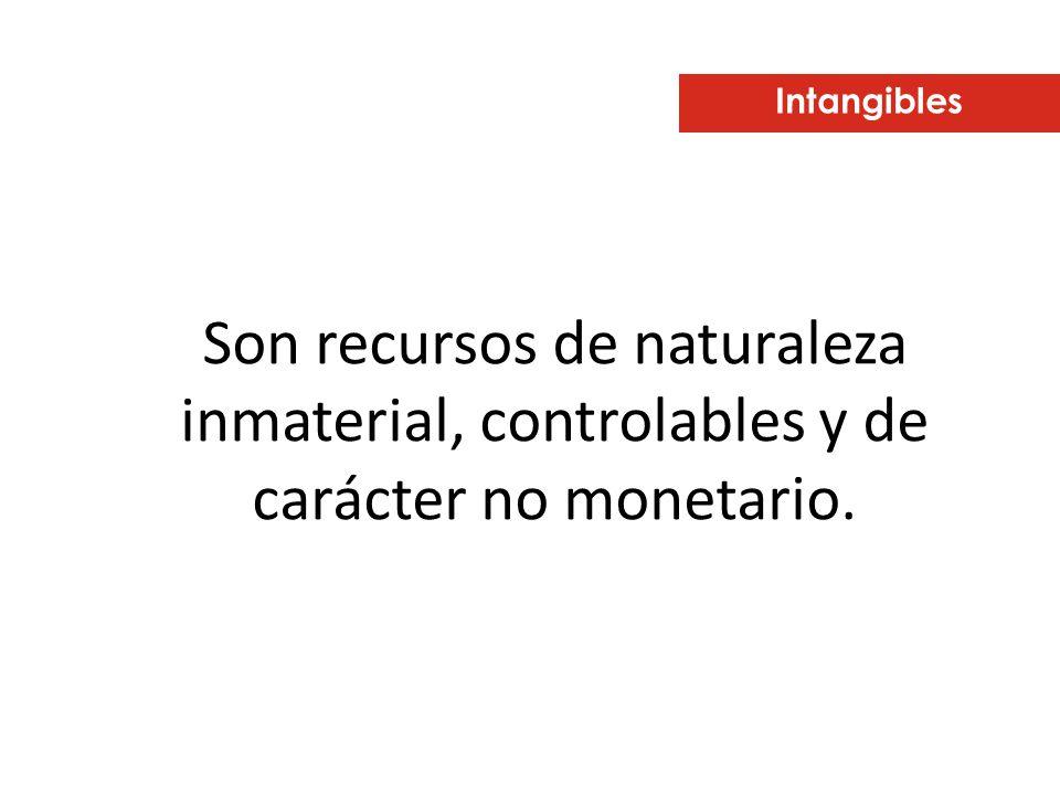 Intangibles Son recursos de naturaleza inmaterial, controlables y de carácter no monetario.