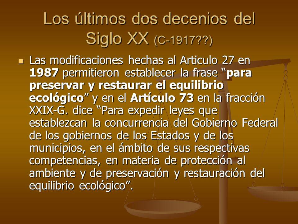 Los últimos dos decenios del Siglo XX (C-1917 )