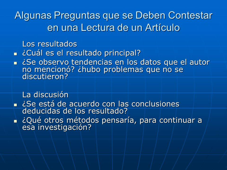Algunas Preguntas que se Deben Contestar en una Lectura de un Artículo