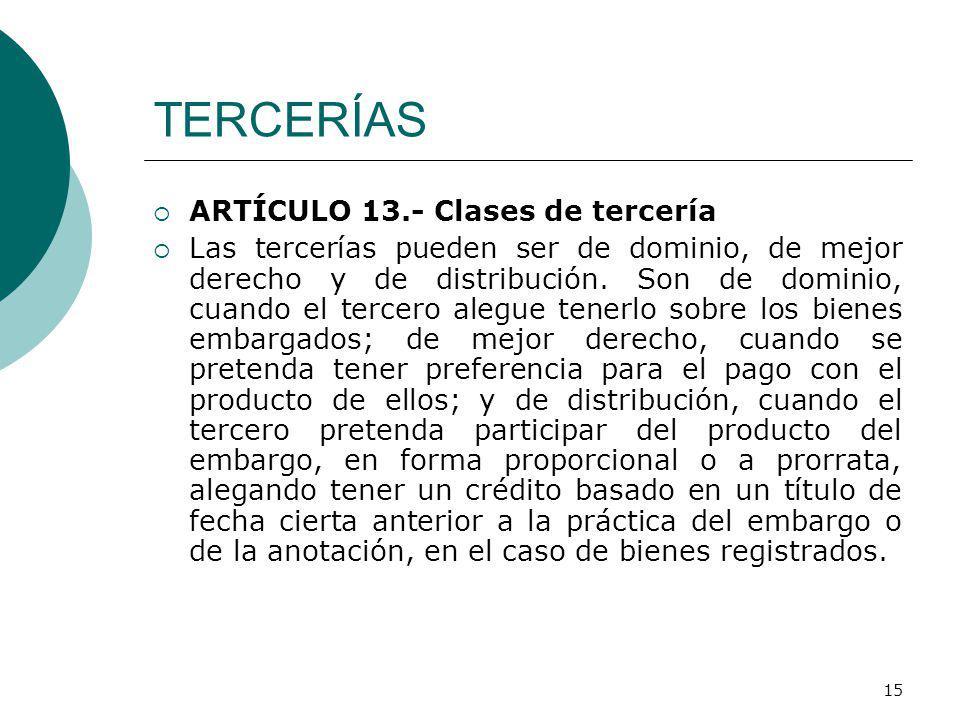 TERCERÍAS ARTÍCULO 13.- Clases de tercería