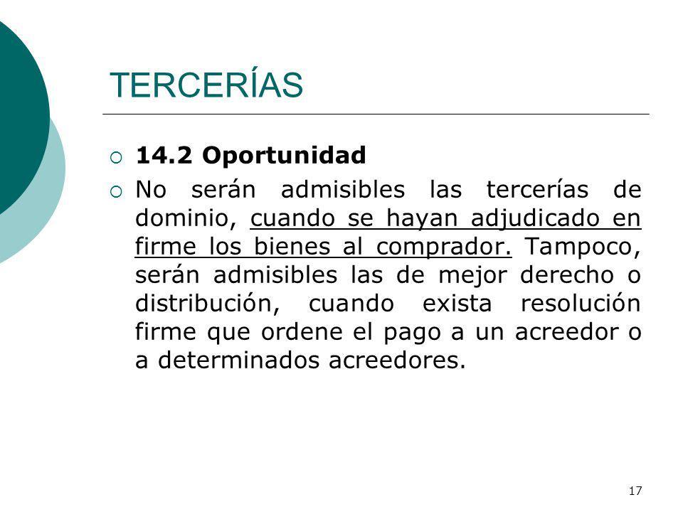 TERCERÍAS 14.2 Oportunidad