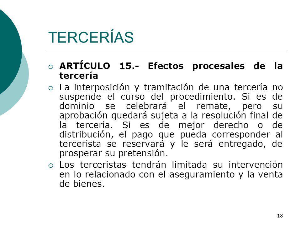 TERCERÍAS ARTÍCULO 15.- Efectos procesales de la tercería