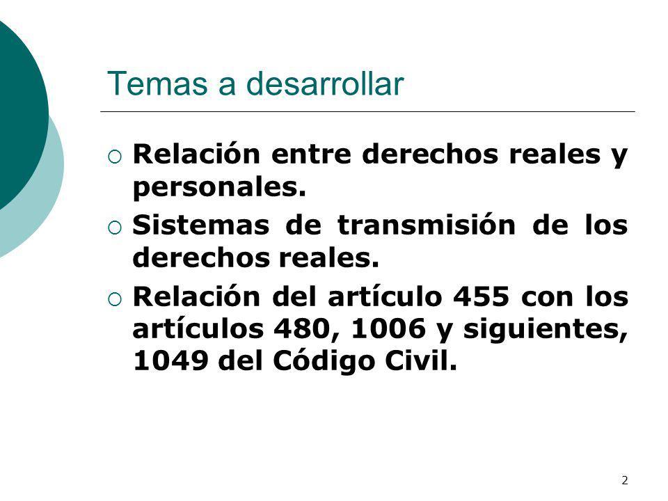 Temas a desarrollar Relación entre derechos reales y personales.