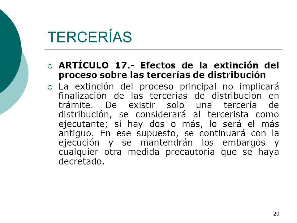 TERCERÍAS ARTÍCULO 17.- Efectos de la extinción del proceso sobre las tercerías de distribución.