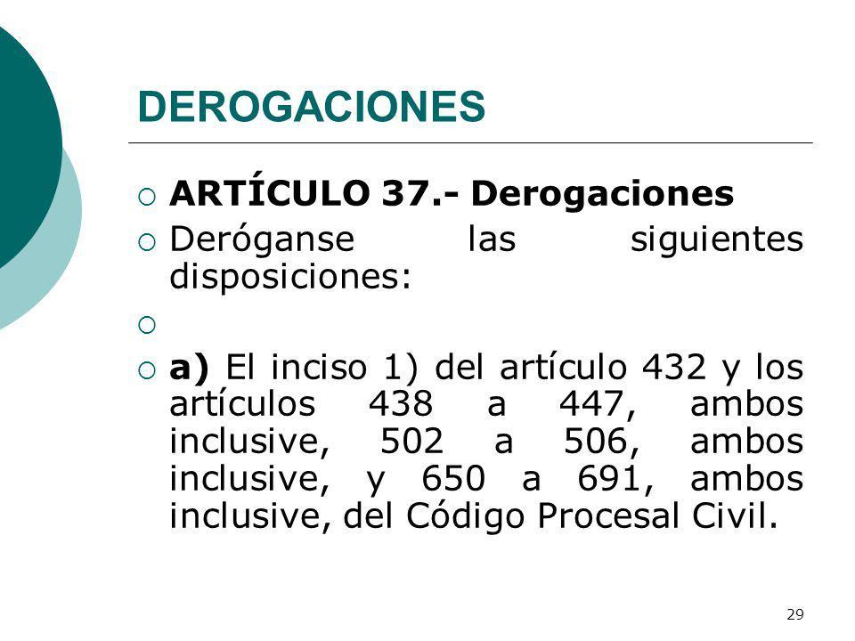DEROGACIONES ARTÍCULO 37.- Derogaciones