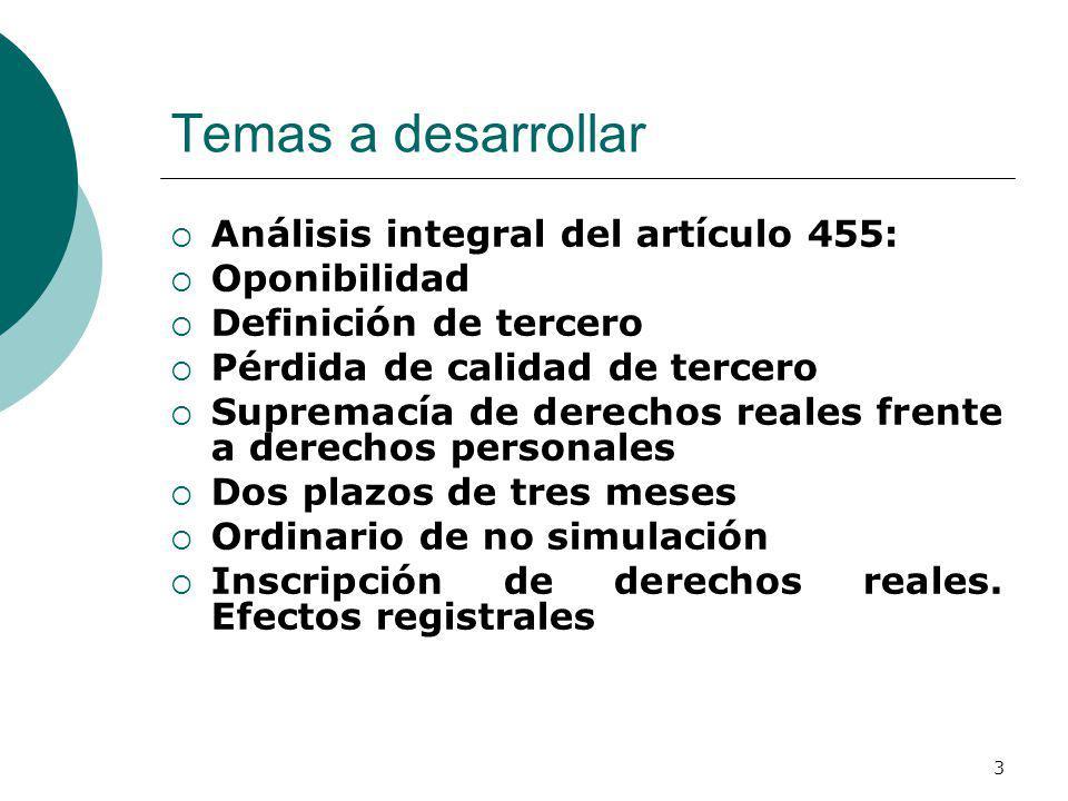 Temas a desarrollar Análisis integral del artículo 455: Oponibilidad