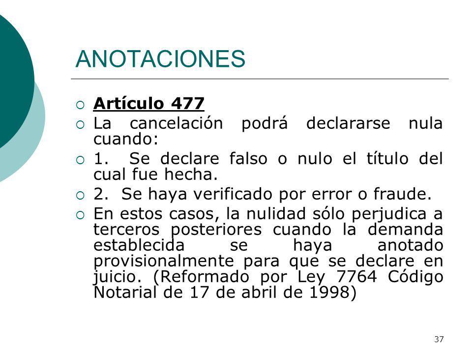 ANOTACIONES Artículo 477 La cancelación podrá declararse nula cuando: