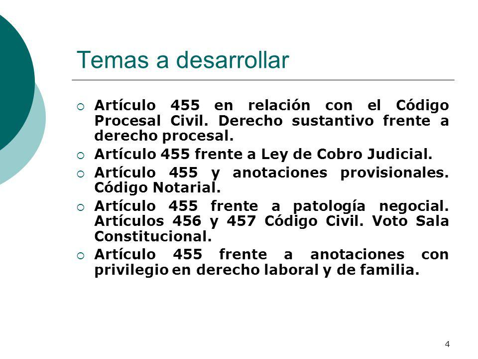 Temas a desarrollar Artículo 455 en relación con el Código Procesal Civil. Derecho sustantivo frente a derecho procesal.