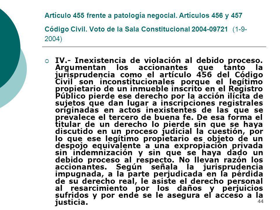 Artículo 455 frente a patología negocial