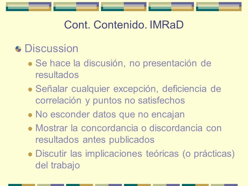Cont. Contenido. IMRaD Discussion