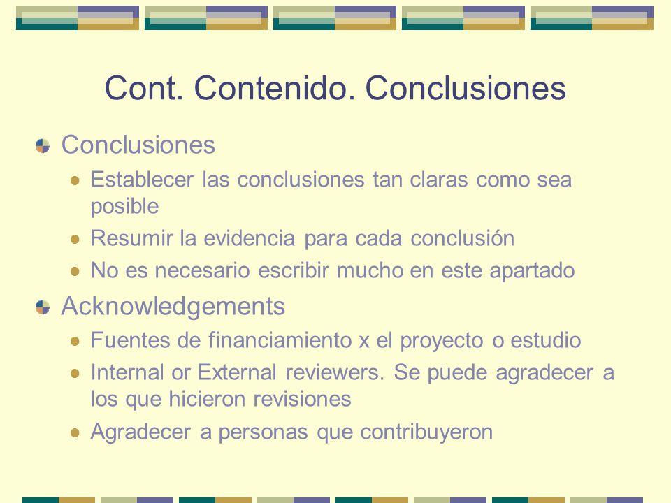 Cont. Contenido. Conclusiones