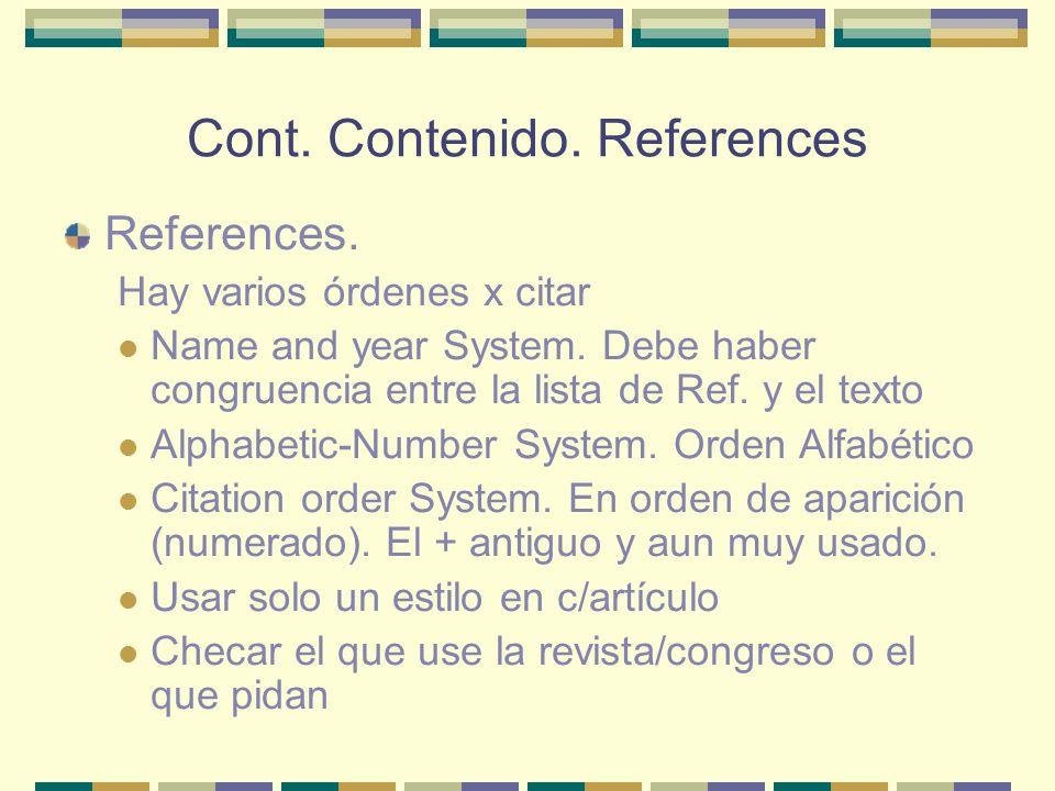Cont. Contenido. References