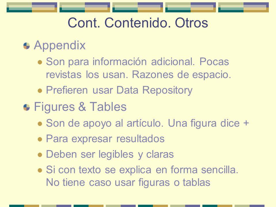 Cont. Contenido. Otros Appendix Figures & Tables