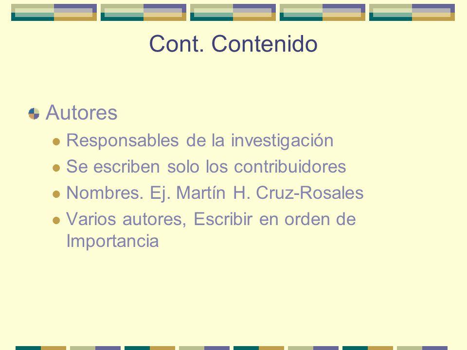 Cont. Contenido Autores Responsables de la investigación