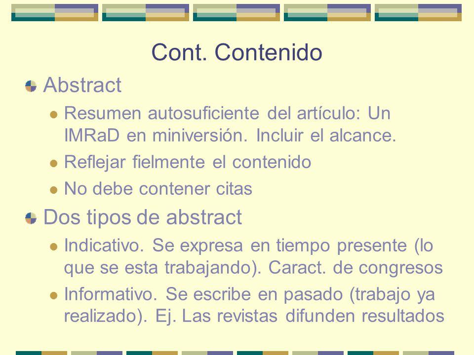 Cont. Contenido Abstract Dos tipos de abstract