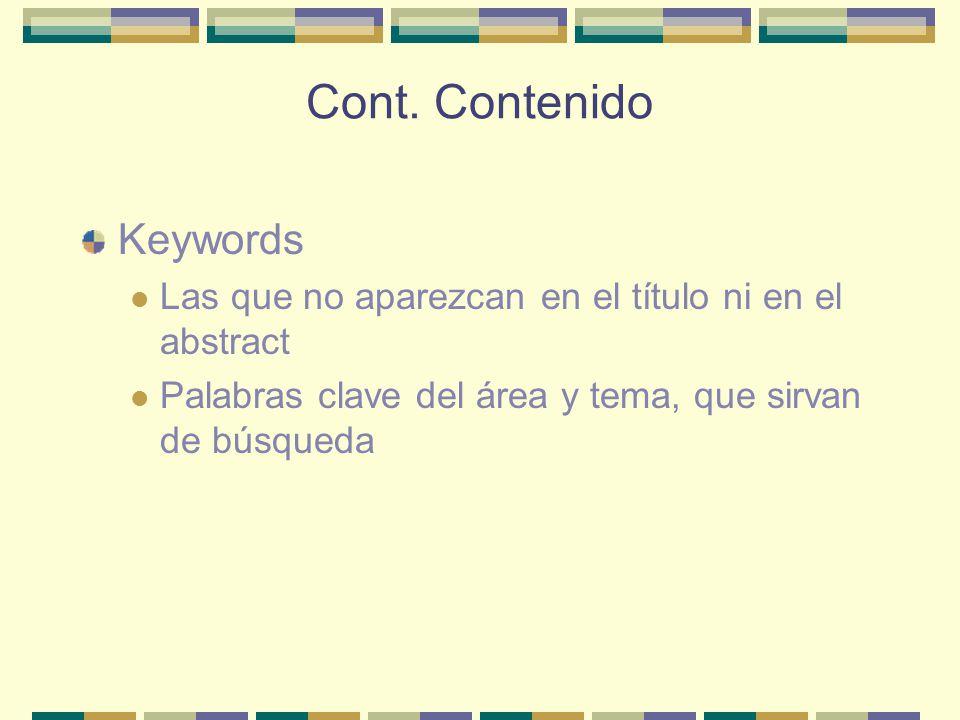 Cont. Contenido Keywords