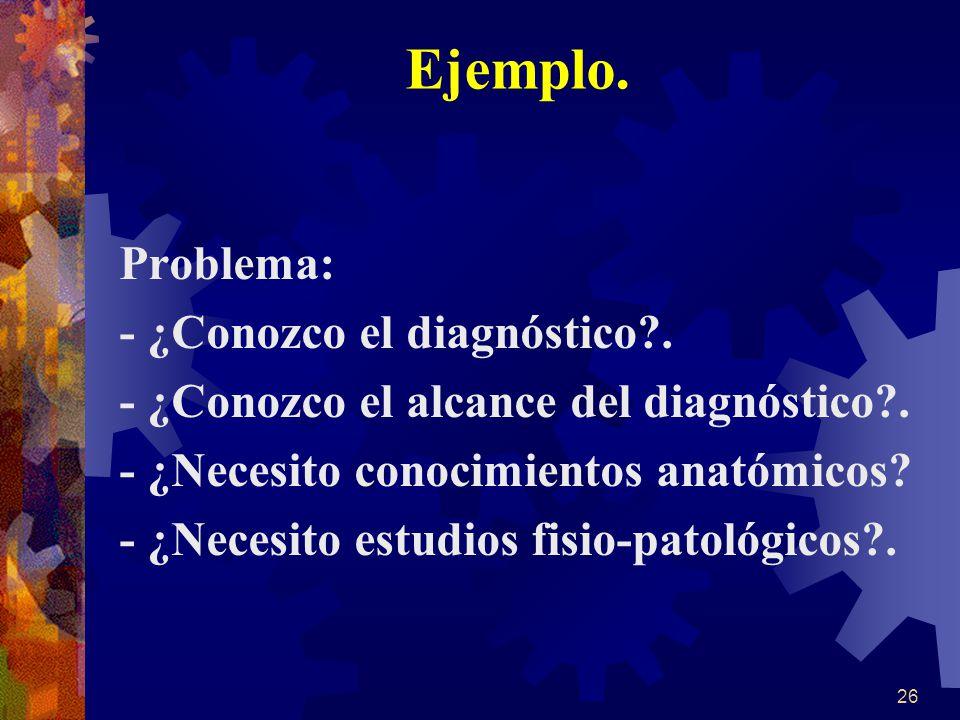 Ejemplo. Problema: - ¿Conozco el diagnóstico .