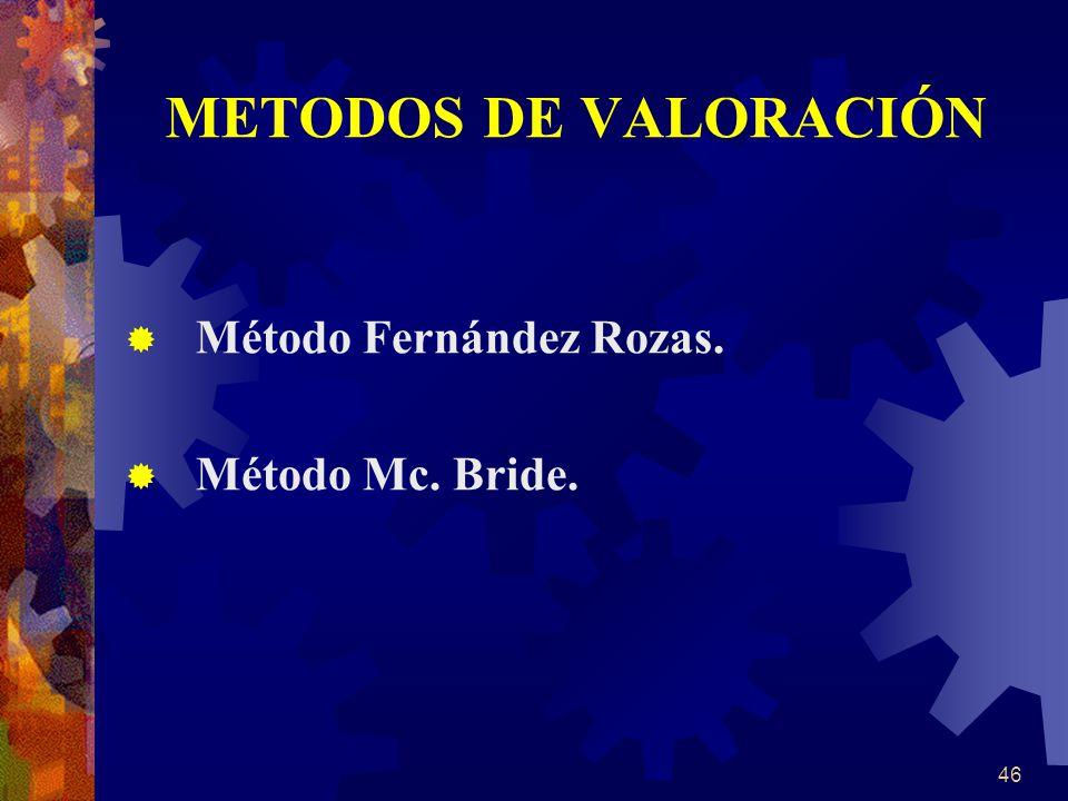 METODOS DE VALORACIÓN Método Fernández Rozas. Método Mc. Bride.