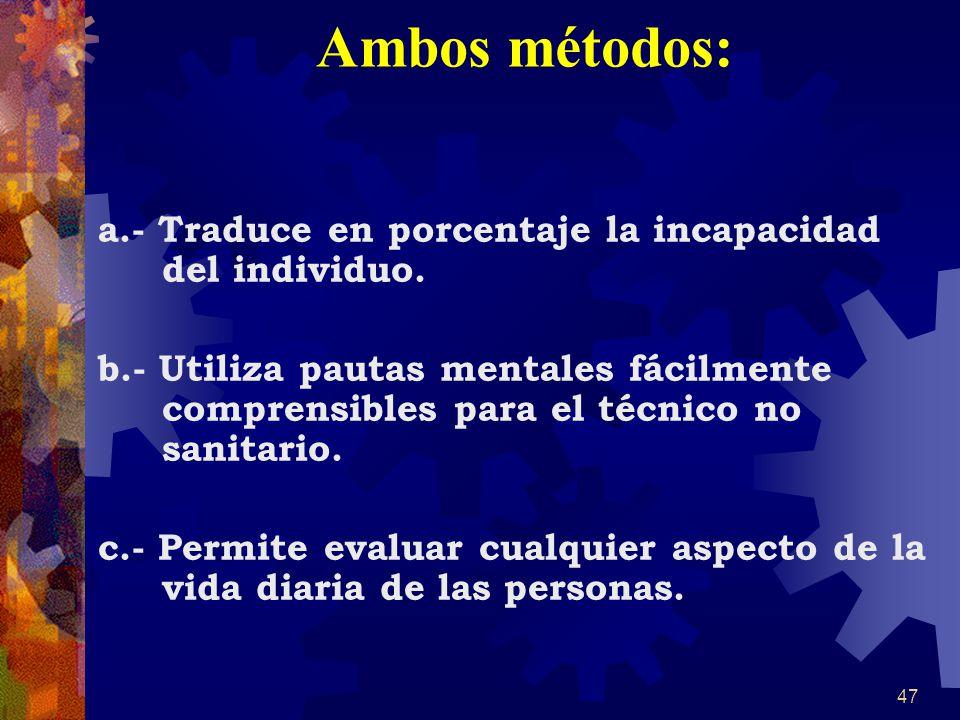 Ambos métodos: a.- Traduce en porcentaje la incapacidad del individuo.