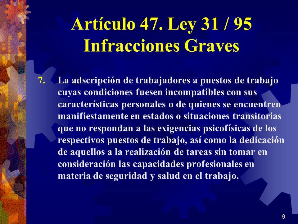 Artículo 47. Ley 31 / 95 Infracciones Graves