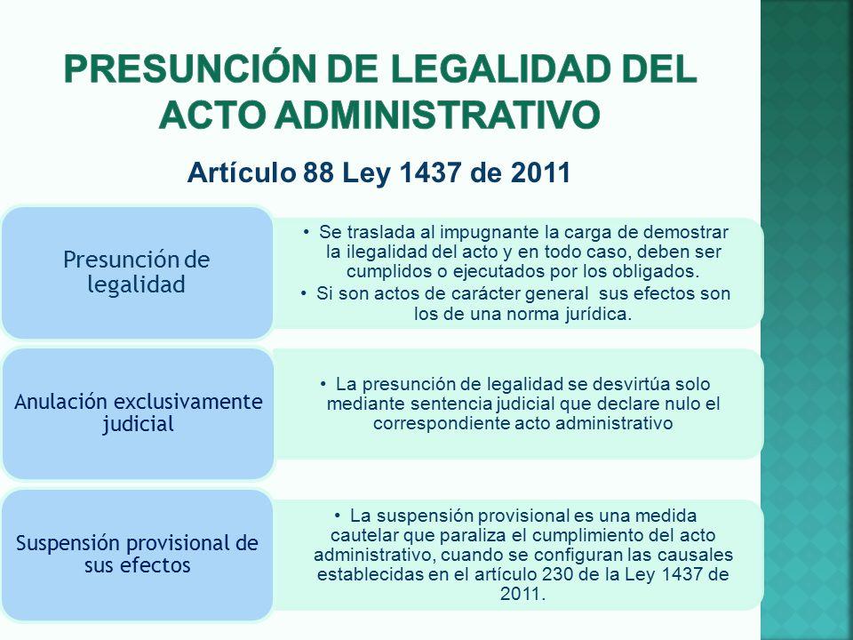 Presunción de legalidad del acto administrativo