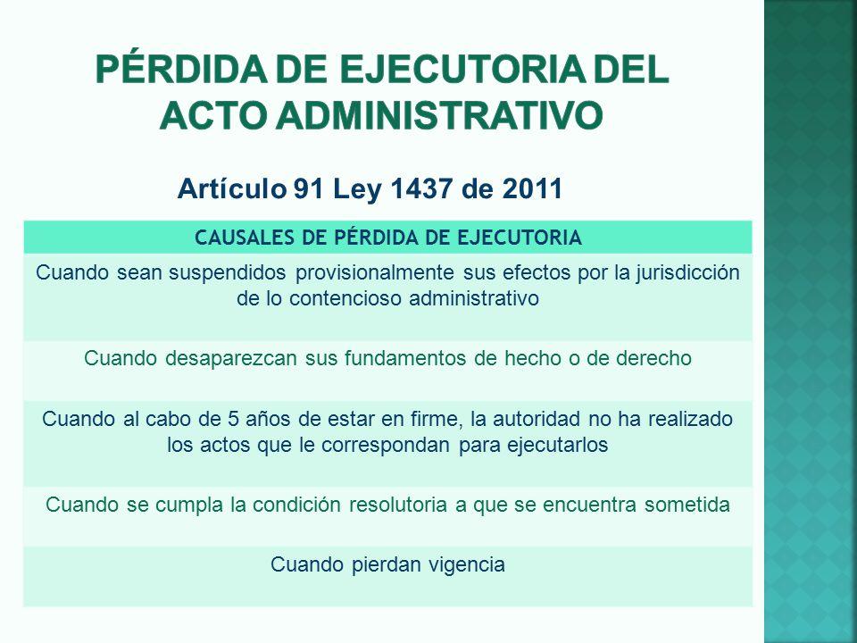 Pérdida de ejecutoria del acto administrativo