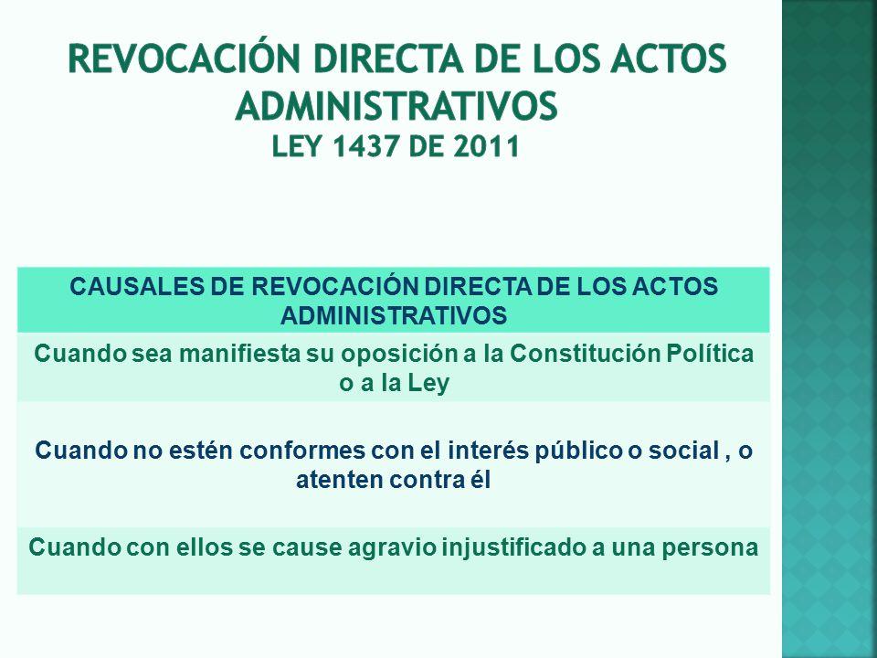 Revocación DIRECTA DE LOS ACTOS ADMINISTRATIVOS LEY 1437 DE 2011