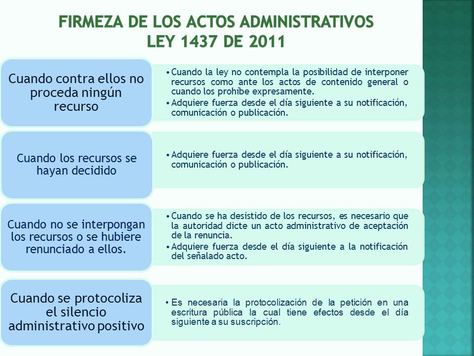 Firmeza de los actos administrativos ley 1437 de 2011