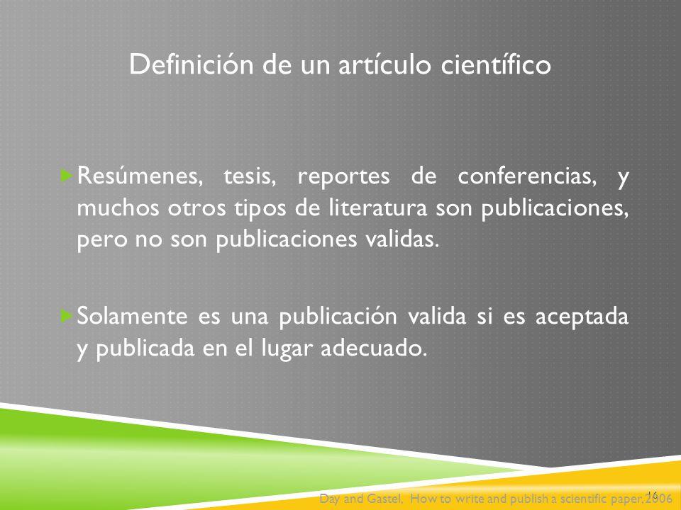 Definición de un artículo científico