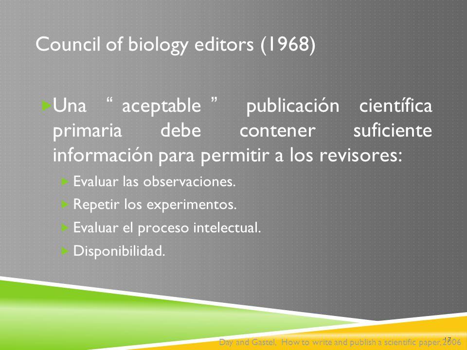 Council of biology editors (1968)