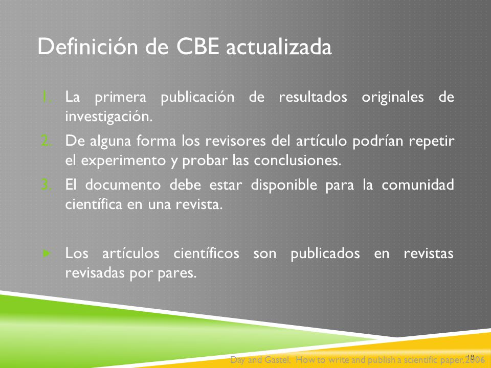 Definición de CBE actualizada