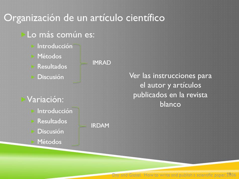 Organización de un artículo científico