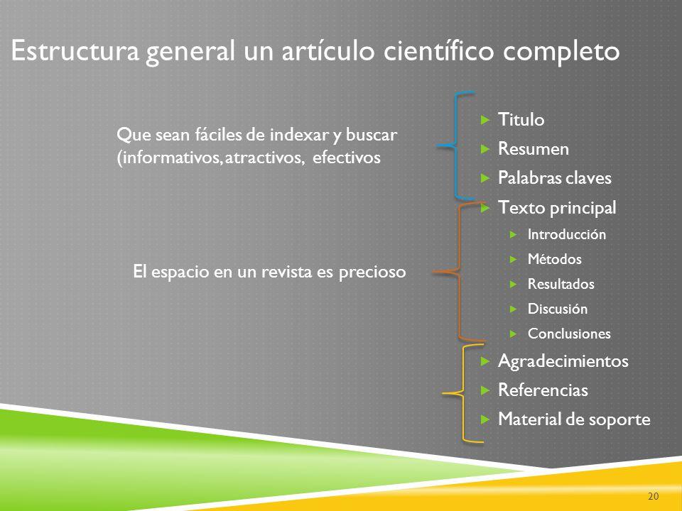 Estructura general un artículo científico completo