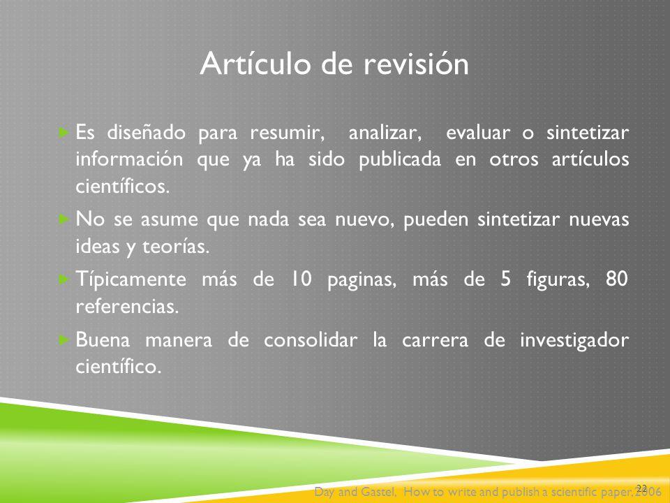Artículo de revisión Es diseñado para resumir, analizar, evaluar o sintetizar información que ya ha sido publicada en otros artículos científicos.