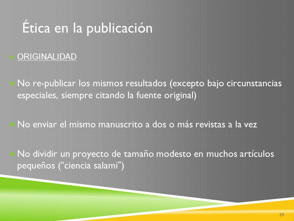 Ética en la publicación
