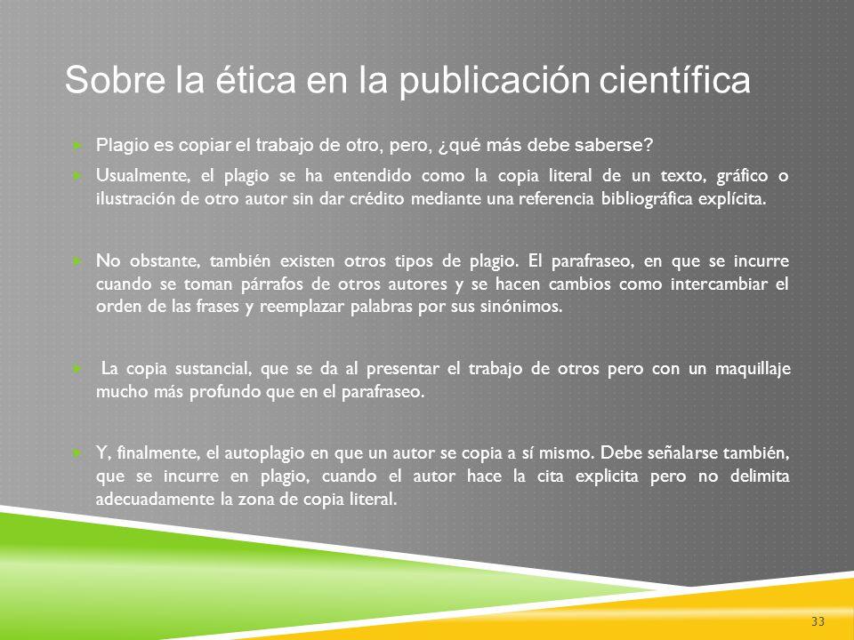 Sobre la ética en la publicación científica