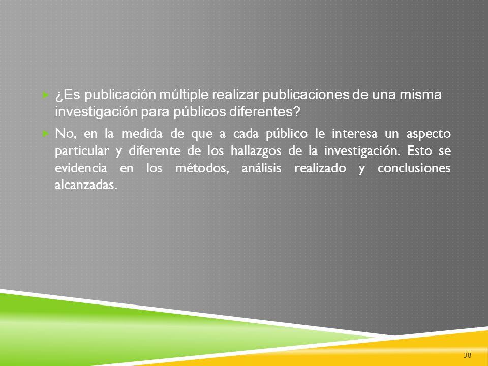¿Es publicación múltiple realizar publicaciones de una misma investigación para públicos diferentes