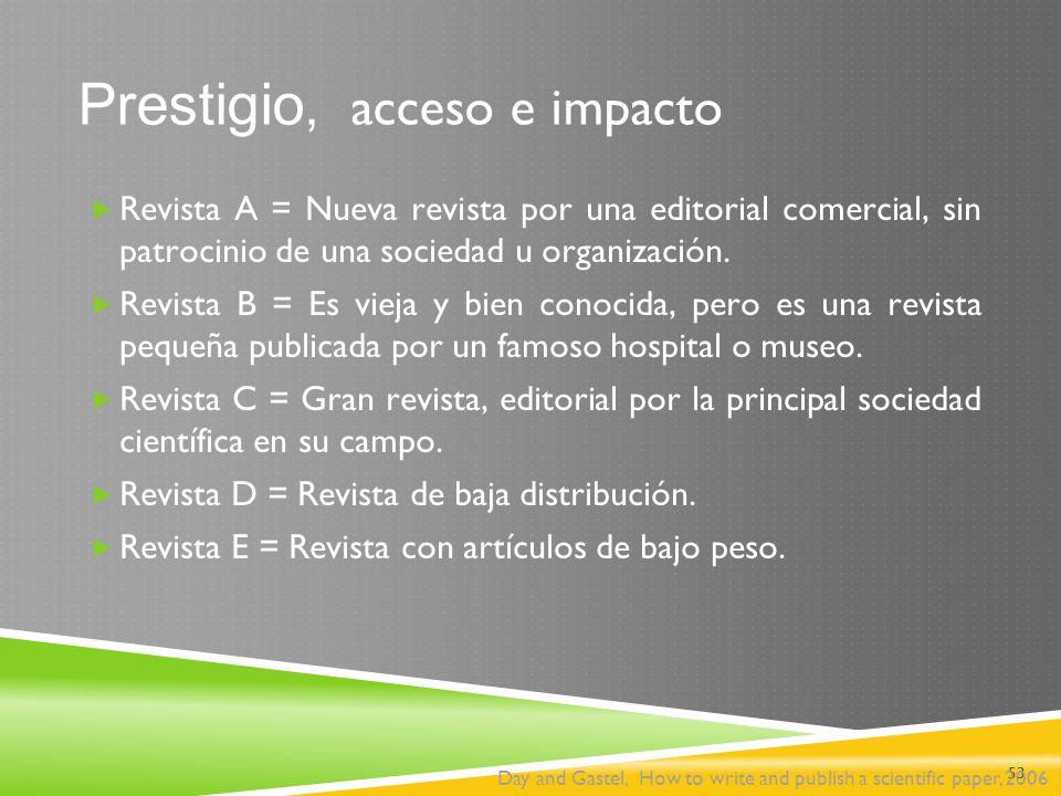 Prestigio, acceso e impacto