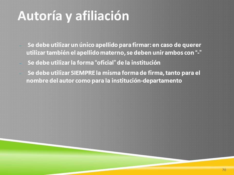 Autoría y afiliación