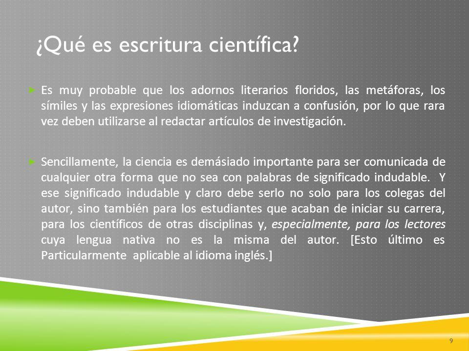 ¿Qué es escritura científica