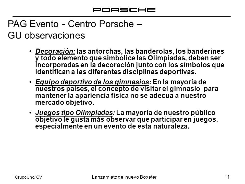 PAG Evento - Centro Porsche – GU observaciones
