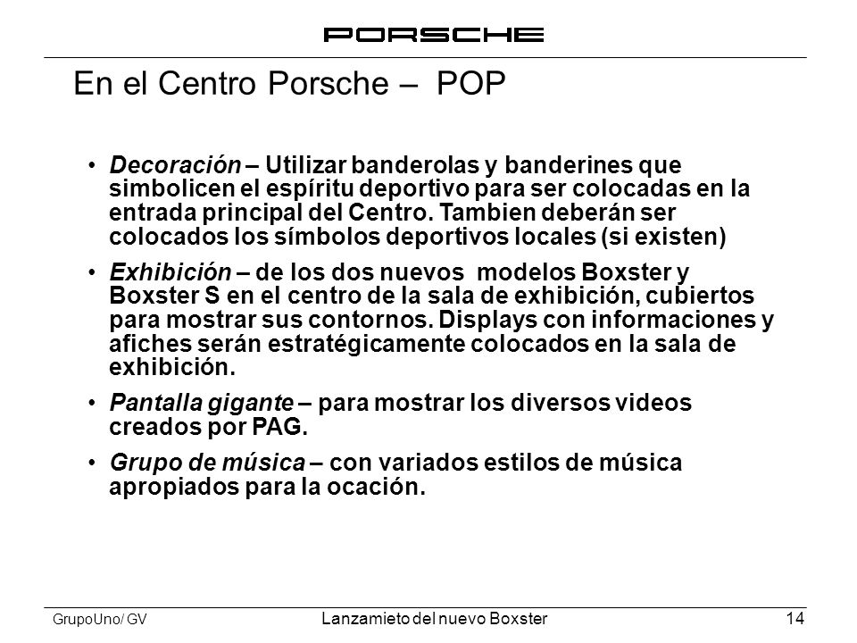 En el Centro Porsche – POP