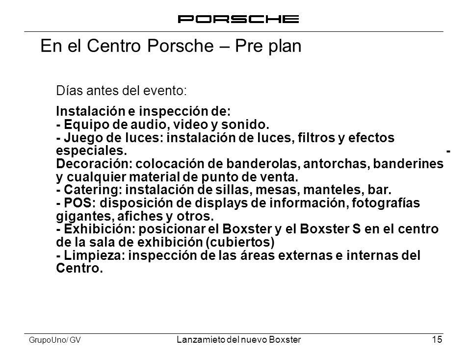 En el Centro Porsche – Pre plan