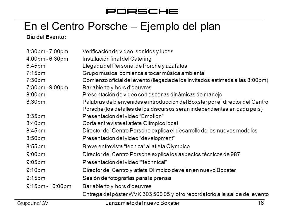En el Centro Porsche – Ejemplo del plan